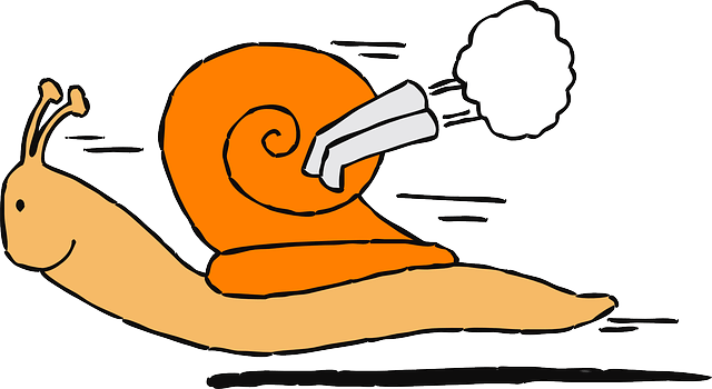 snail with a gas pipe